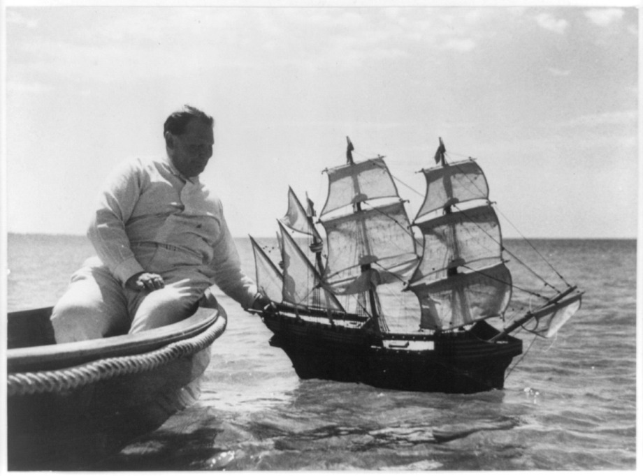 Hermann Goering playing with a model boat