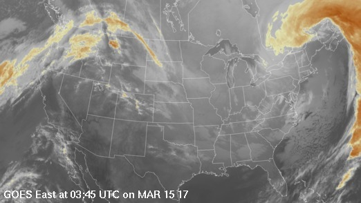 GOES East colorized infrared imagery over the continental United States